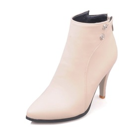 Ericdress Plain Pointed Toe Back Zip Stiletto Heel Women's Boots