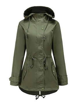 Ericdress Loose Thick Casual Hooded Mid-Length Trench Coat