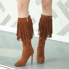 Ericdress Fringe Side Zipper Stiletto Heel Women's Knee High Boots
