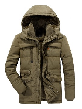 Ericdress Plain Hooded Thick Zipper Mens Casual Winter Jacket