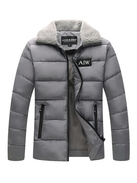 Ericdress Plain Lapel Thick Zipper Mens Winter Coats