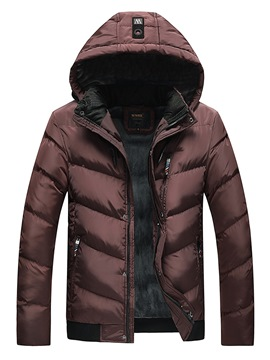 Ericdress Plain Hooded Thick Zipper Mens Casual Down Coats
