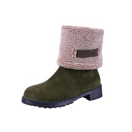 Ericdress PU Round Toe Block Heel Slip-On Women's Snow Boots