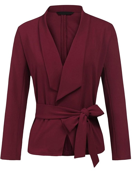 Ericdress Slim Lace-Up Lapel Plain Long Sleeves Jacket