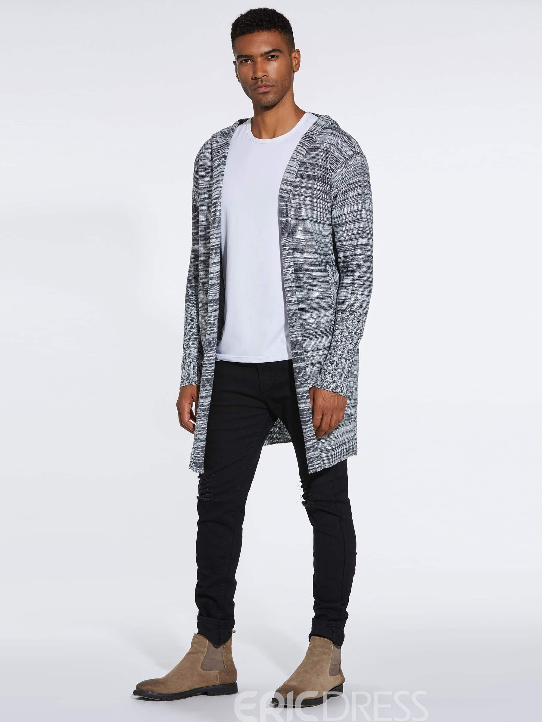 Ericdress Color Block Hooded Mid-Length Mens Casual Cardigan Sweaters