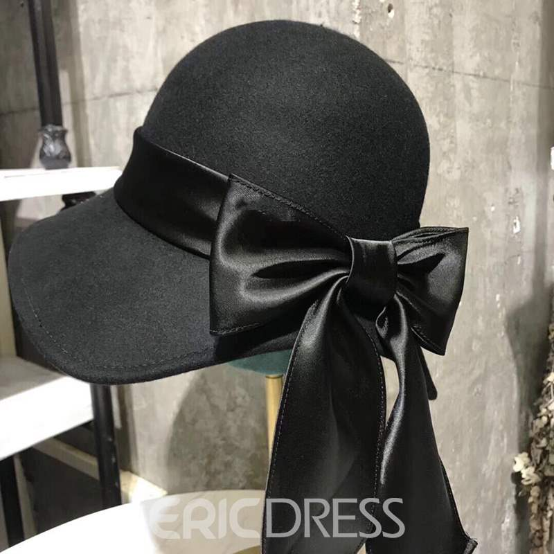 Ericdress A Solid Colored Wool Bow Style Hat