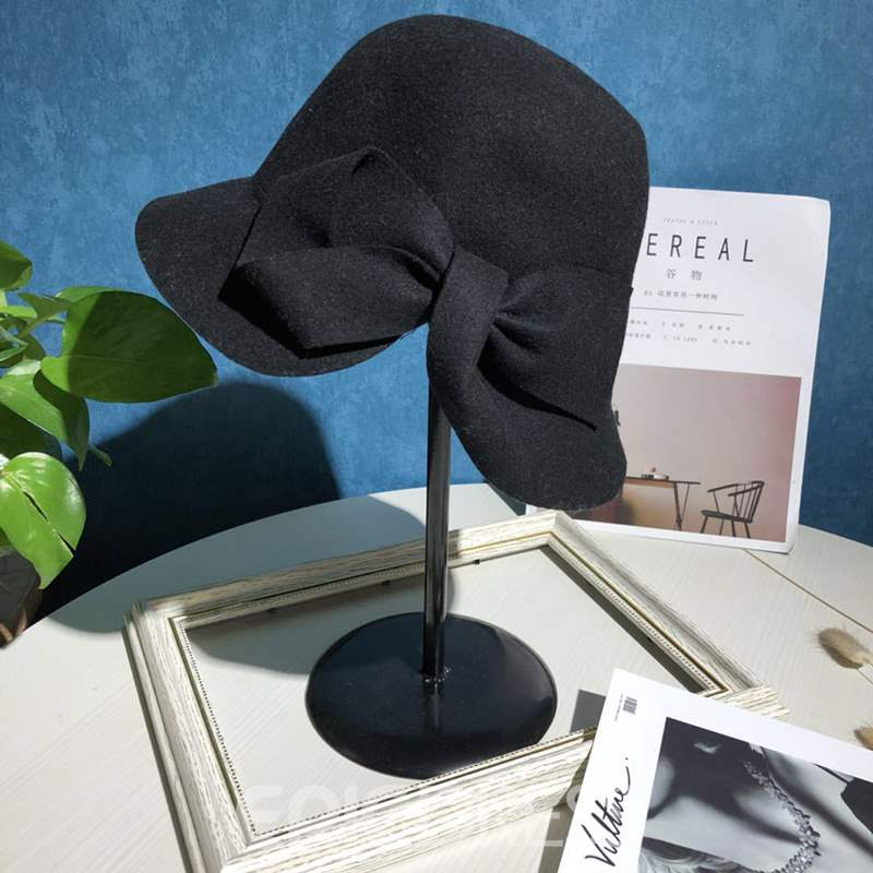 Ericdress A Solid Colored Bow Wool Hat