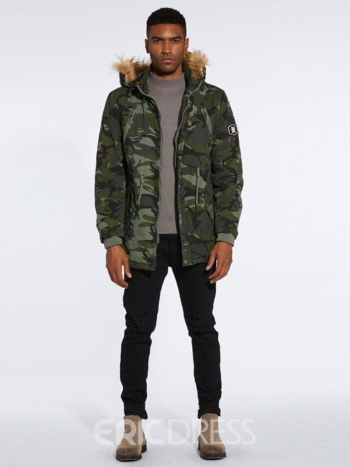 Ericdress Camouflage Fur Hooded Thick Mens Casual Winter Coats