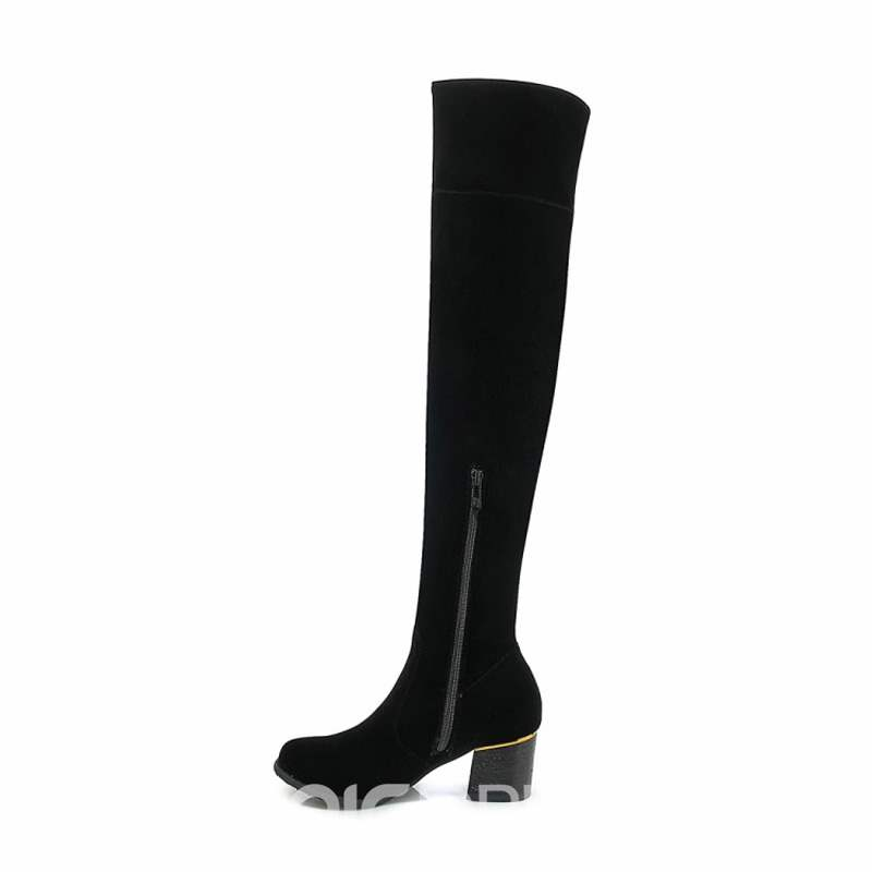 Ericdress Bowknot Fringe Round Toe Chunky Heel Over The Knee Boots