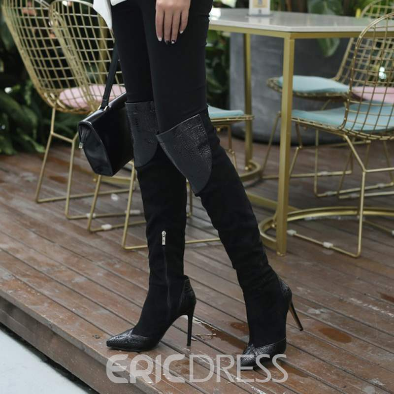 Ericdress Patchwork Pointed Toe Stiletto Heel Over The Knee Boots