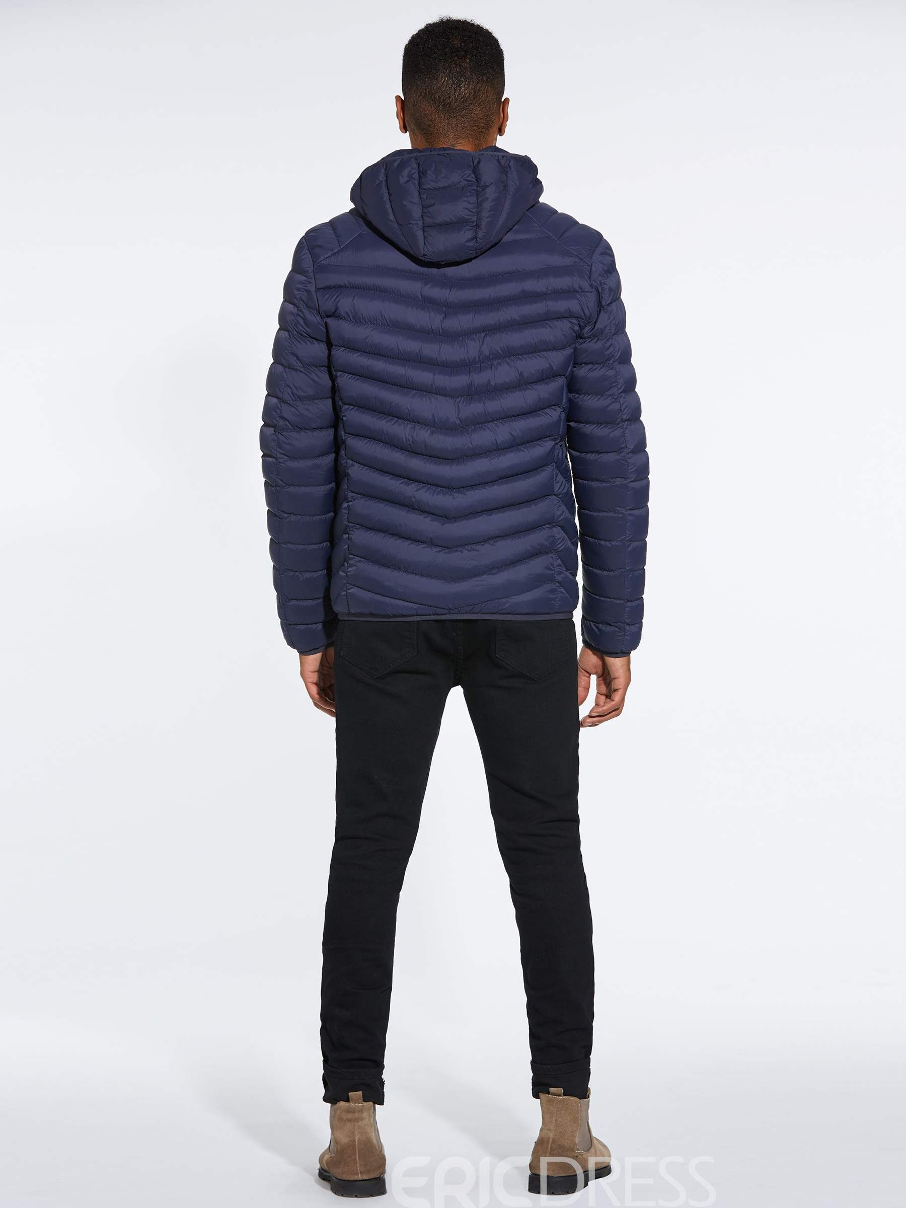 Ericdress Plain Removable Hooded Mens Winter Coats With Earphone