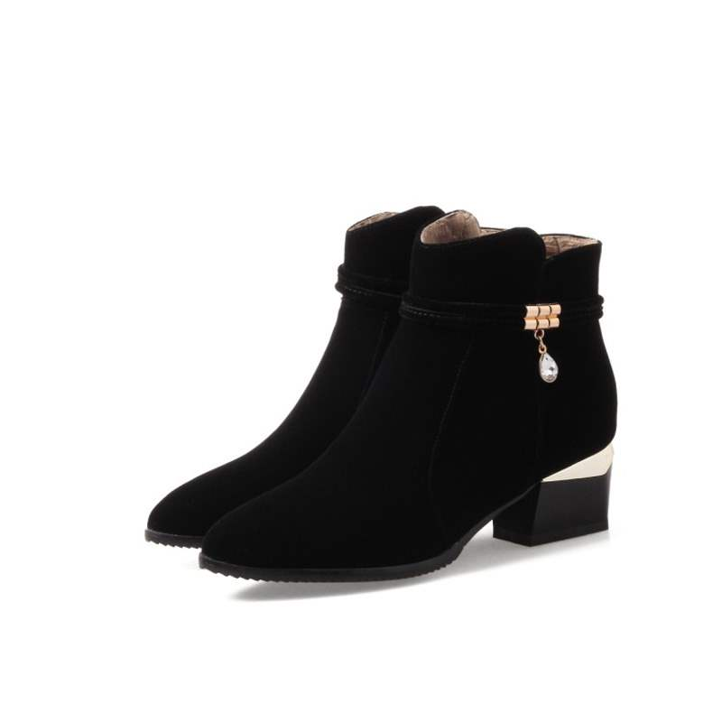 Ericdress Rhinestone Side Zipper Chunky Heel Women's Boots