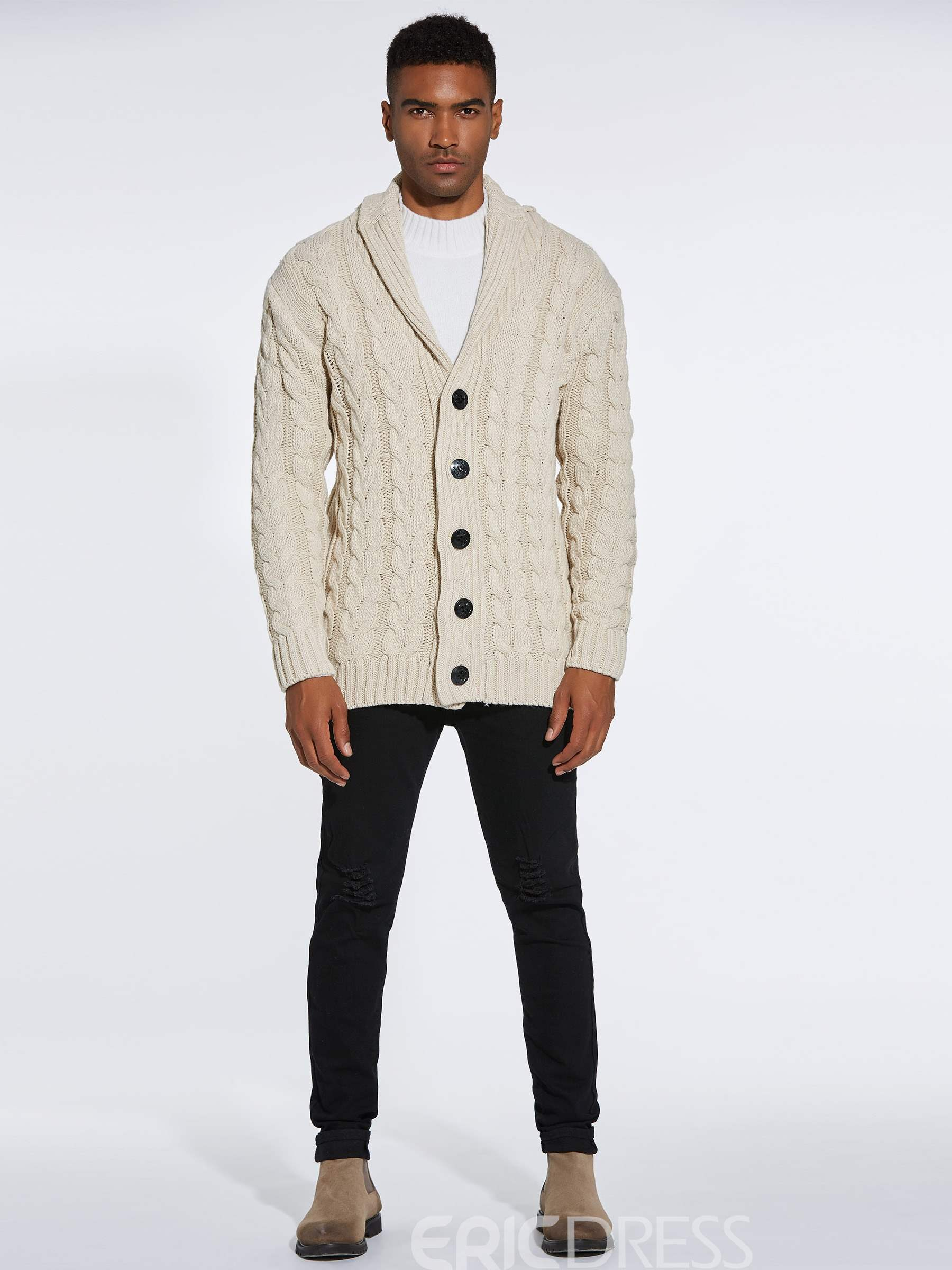 Ericdress Plain Single Breasted Mens Casual Cardigan Sweaters
