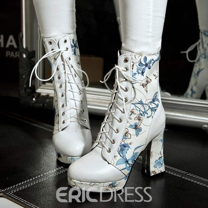 Ericdress Floral Platform Chunky Heel Women's Ankle Boots