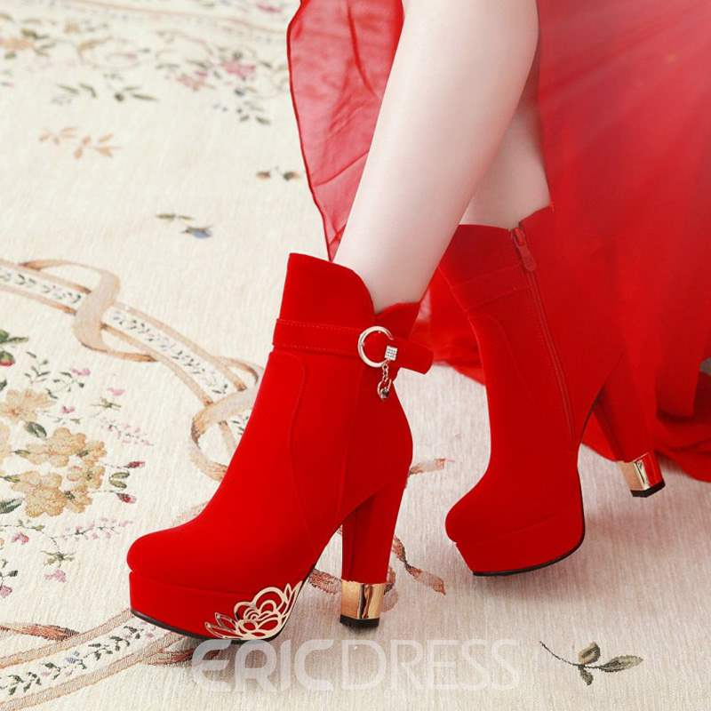 Ericdress Sequin Suede Round Toe Chunky Heel Women's Ankle Boots