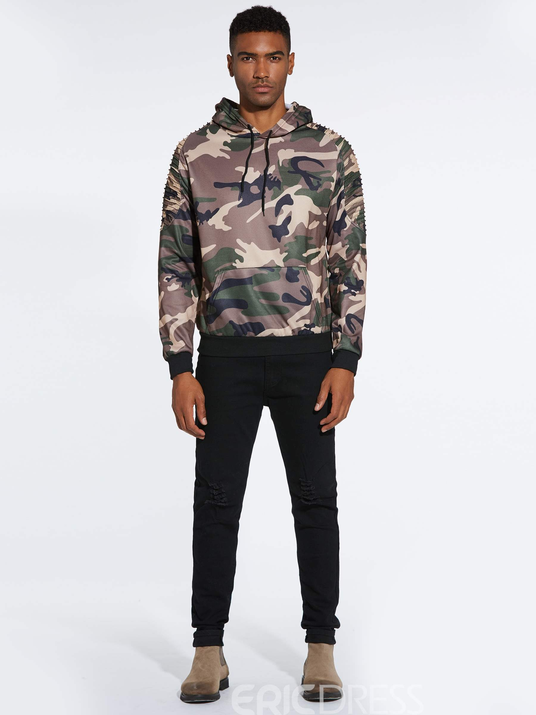 Ericdress Camouflage Printed Pullover Mens Casual Hoodies