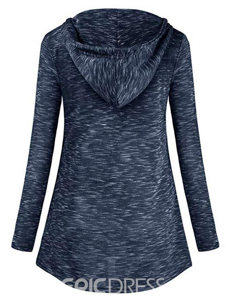 Ericdress Casual Mid-Length Button Long Sleeves Cool Hoodie