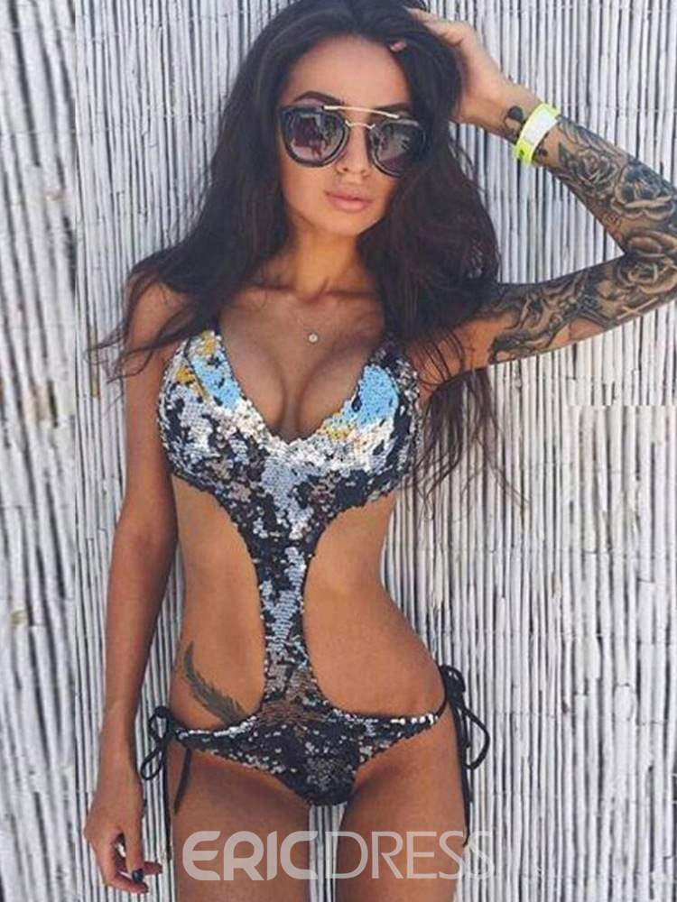 Ericdress Sexy Plain Sequins Lace-Up Bikini