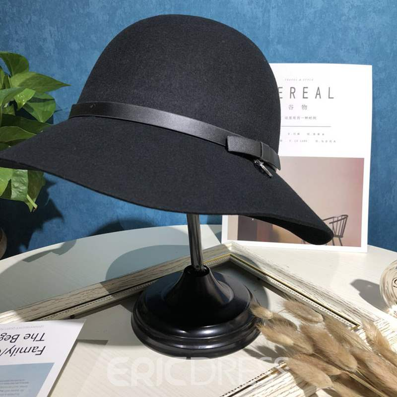 Ericdress Pure Color Wool Bucket Lady Hat