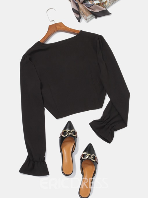 Ericdress Plain V-Neck Flare Sleeve Long Sleeve Short Blouse