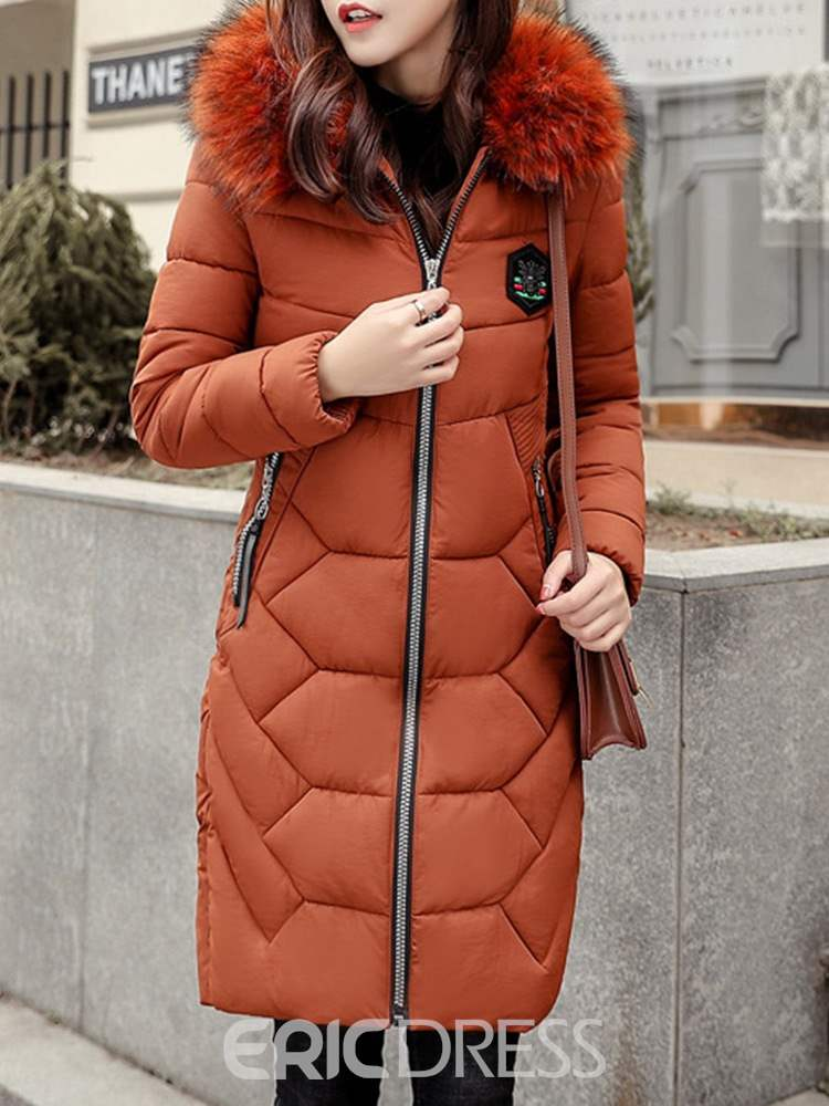 Ericdress Thick Fur Collar Mid-Length Long Sleeves Coat