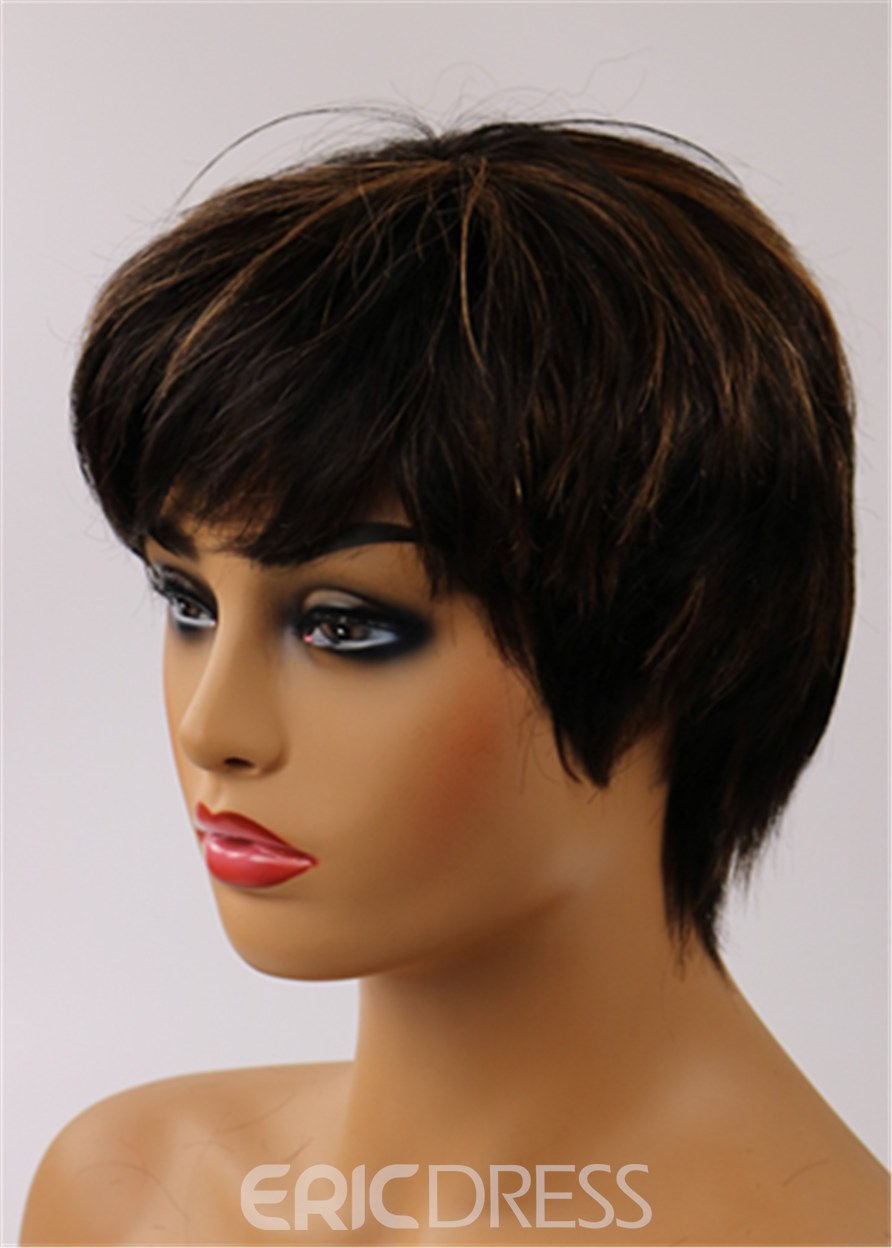 Ericdress Boy Cut Straight Human Hair Capless African American Wigs 8 Inches