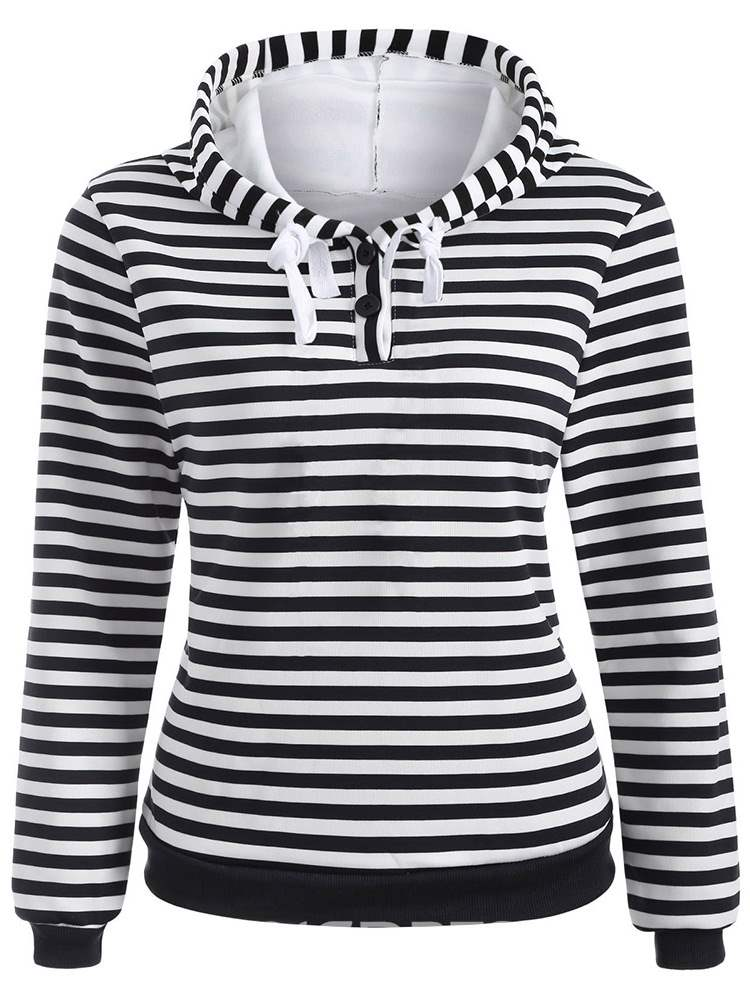 Ericdress Stripe Pullover Casual Long Sleeves Cool Hoodie