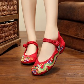 Ericdress Embroidery Hidden Elevator Heel Women's Flats