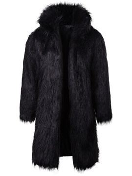 Ericdress Plain Faux Fur Thick Mid-Length Mens Winter Coat
