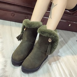Ericdress Fringe Plain Round Toe Slip-On Women's Snow Boots