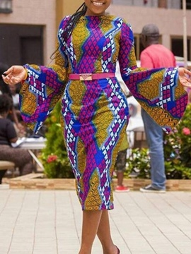 Ericdress Ankara Print Long Sleeve Flare Sleeve Bodycon Dress