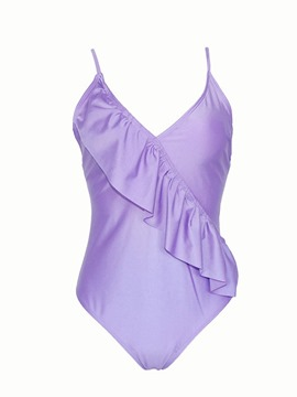 Eeicdress Plain Ruffles Beach Look Monokini
