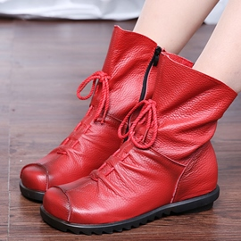 Ericdress Plain Side Zipper Round Toe Women's Boots
