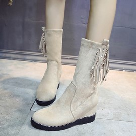 Ericdress Fringe Suede Hidden Elevator Heel Women's Calf High Boots