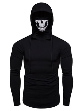 ericdress Plain Hooded Skull Lace up Herren Halloween Hoodies mit Maske