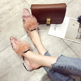 Ericdress Suede Pointed Toe Block Heel Women's Mules Shoes