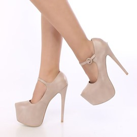 Ericdress Plain Round Toe Platform Stiletto Heel Women's Pumps