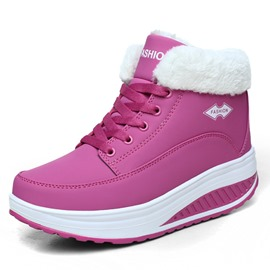 Ericdress Plain Round Toe Lace-Up Platform Women's Snow Boots