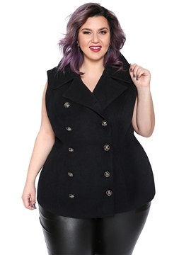 Ericdress Double-Breasted Plain Button Mid-Length Vest
