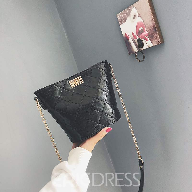 Ericdress PU Chain Barrel-Shaped Crossbody Bags