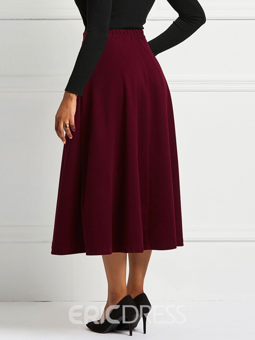 Ericdress Pleated A-Line Plain Women's Skirt