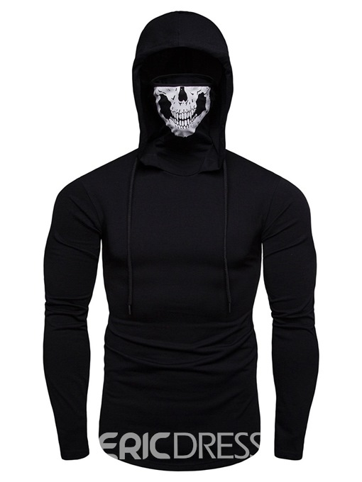 Ericdress Plain Hooded Skull Lace Up Mens Halloween Hoodies With Mask