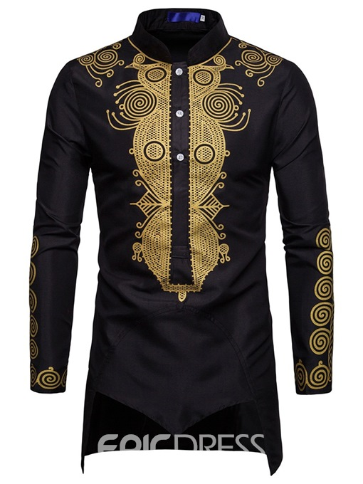 Ericdress Dshiki Printed Asymmetric Stand Collar Mens Shirts