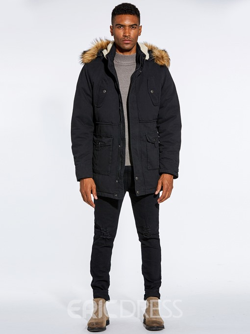 Ericdress Fur Hooded Plain Zipper Pocket Mens Winter Jacket