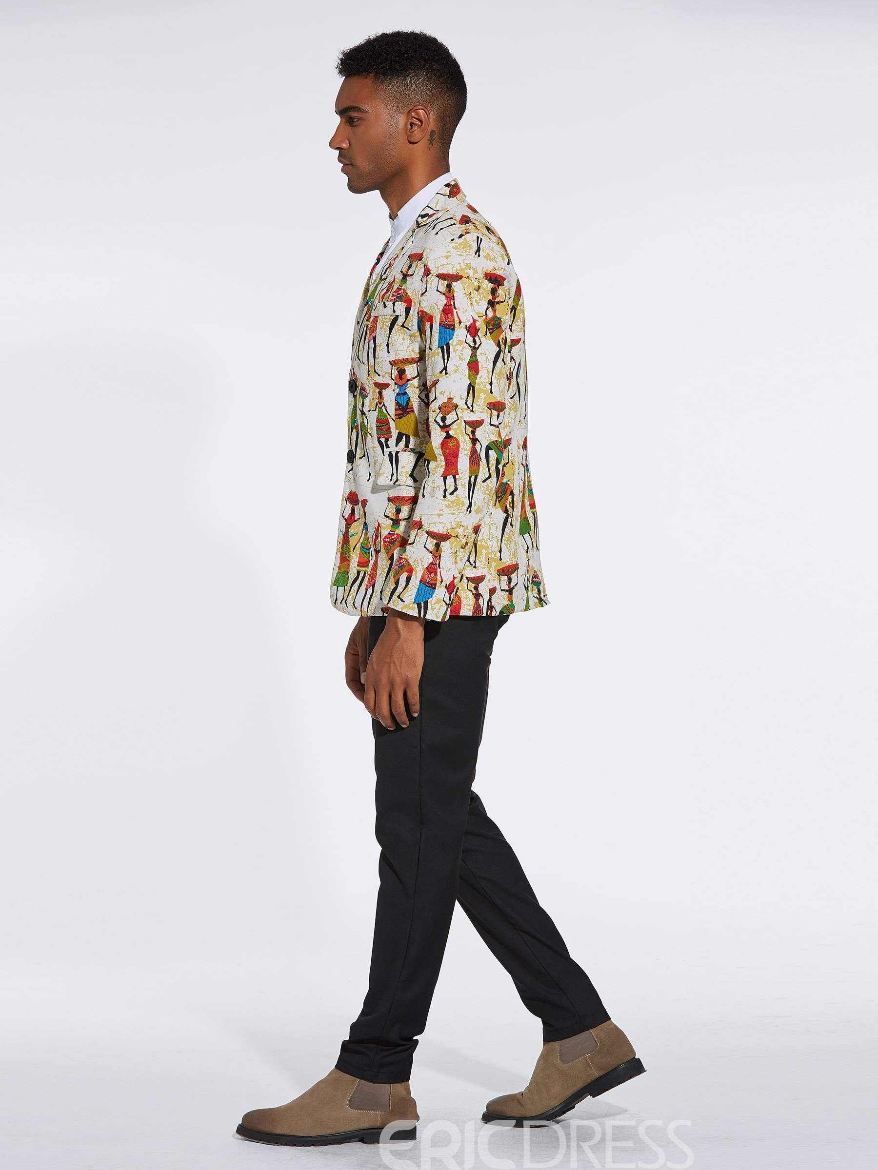 Ericdress Ethnic Cartoon Printed Slim Mens Casual Unique Blazer Coats