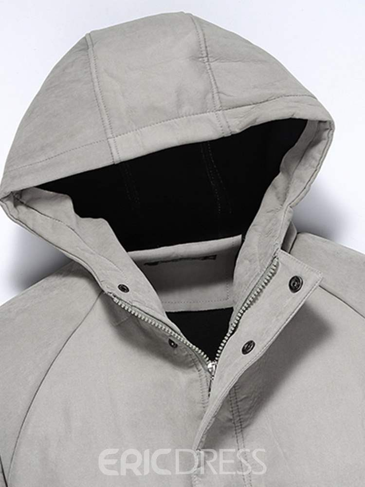 Ericdress Plain Hooded Zipper Mens Cardigan Hoodies Jacket