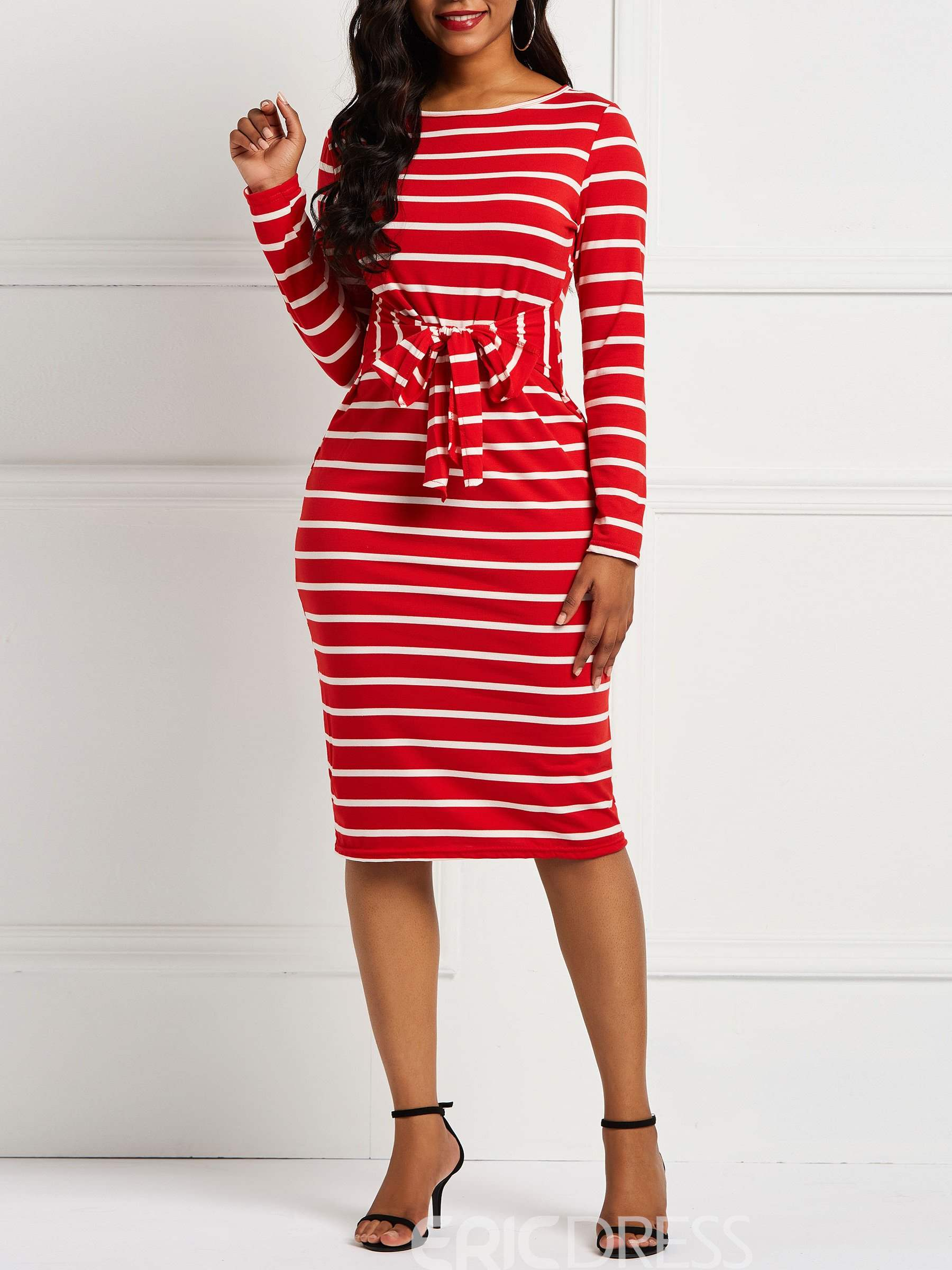 Ericdress Pullover Lace-Up Stripe Bodycon Dress