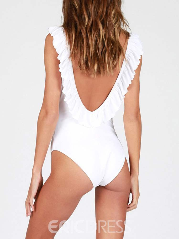 Ericdress Plain Ruffles Backless Monokini