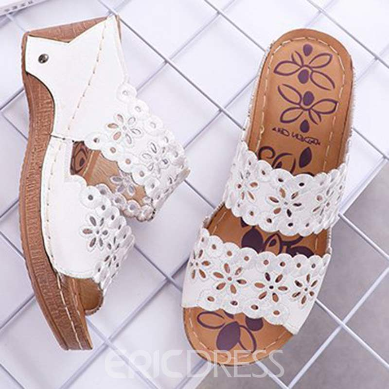 Ericdress PU Hollow Wedge Heel Slip-On Women's Mules Shoes