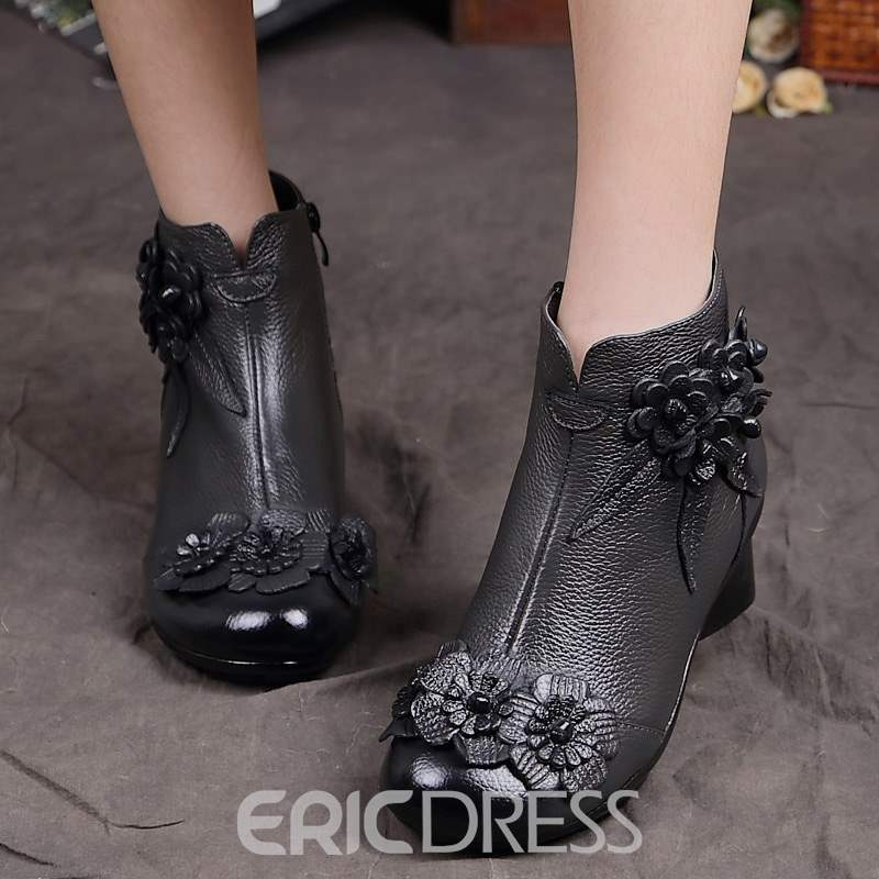 Ericdress Floral Round Toe Chunk Heel Women's Boots